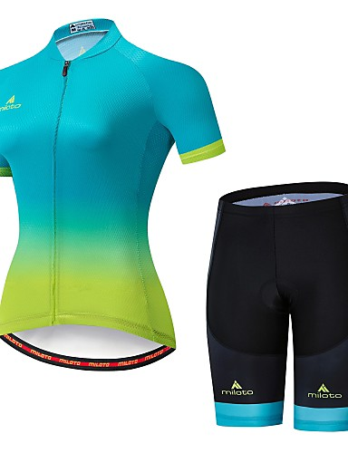 cheap Cycling Clothing-Miloto Women's Short Sleeve Cycling Jersey with Shorts - Bule / Black Bike Jersey Padded Shorts / Chamois Clothing Suit Breathable Reflective Strips Sports Lycra Multi Color Clothing Apparel