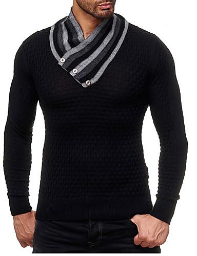 Fashion Style Per Uomo Monocolore Pullover Autunno - Inverno Bianco - Nero - Grigio Xl - Xxl - Xxxl #07157009 Fabbricazione Abile