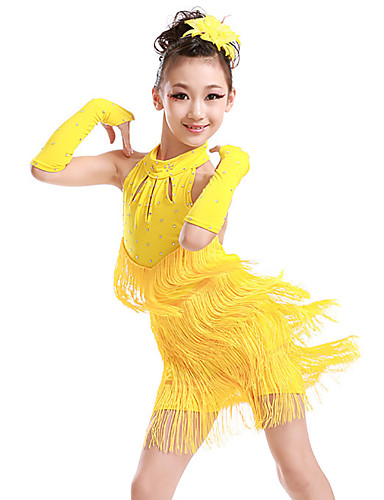 84fdb4d63c516 Latin Dance / Kids' Dancewear Dresses Girls' Training / Performance  Polyester Tassel / Crystals / Rhinestones Sleeveless Dress / Gloves