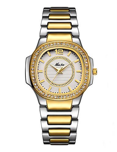 Naisten Quartz Diamond Watch Kimaltava Värikäs Hopea Kulta  Ruostumaton teräs Japani Quartz Kulta Valkoinen Hopea Ajanotto Arkikello jäljitelmä Diamond 30 m 1 kpl Analoginen Kaksi vuotta Akun