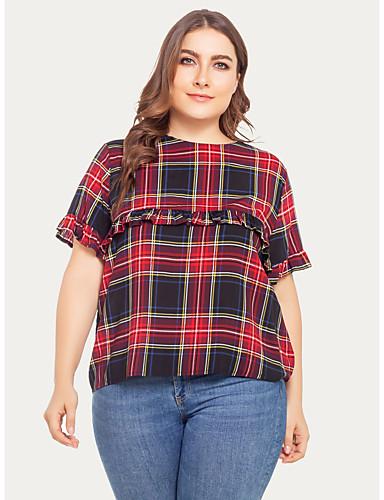 abordables Hauts pour Femmes-Tee-shirt Grandes Tailles Femme, Pied-de-poule - Coton Rouge