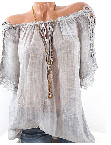 povoljno Ženske majice-Veći konfekcijski brojevi Bluza Žene Jednobojni V izrez Bijela