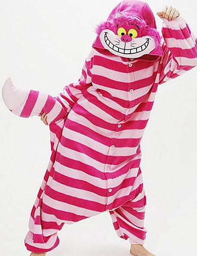 billige Cosplay og kostumer-Kat Cosplay Kostumer Herre Dame Drenge Film Cosplay Cosplay Halloween Rosa Trikot / Heldragtskostumer Halloween Karneval Maskerade Flonel
