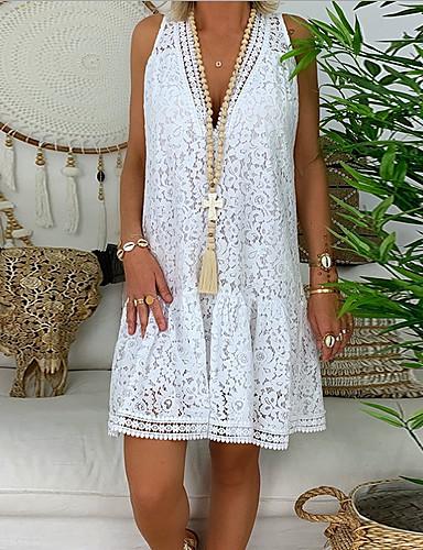 f30722810e71 billige Kjoler-kvinders knælange skjorte kjole v hals hvid sort grøn s m l  xl
