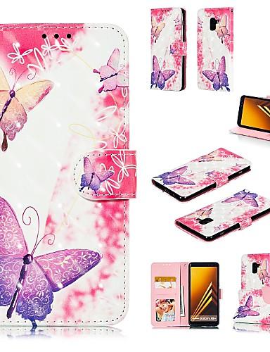 Etui Käyttötarkoitus Samsung Galaxy A5(2018) / A6 (2018) / A6+ (2018) Korttikotelo / Kuvio Suojakuori Perhonen Kova PU-nahka