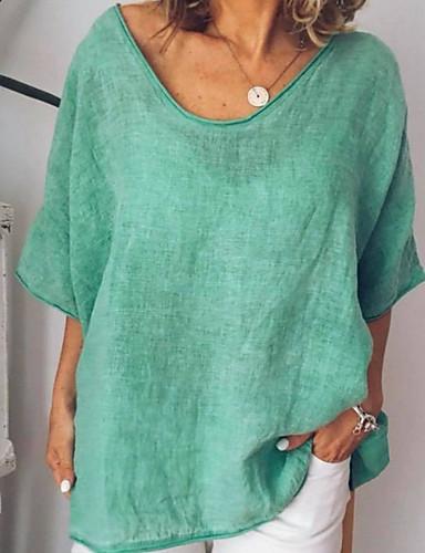a3a71b17f baratos Blusas e Conjuntos Femininos-Mulheres Camiseta Sólido Verde Claro  XXXL