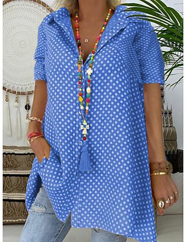 billige Dametopper-Skjortekrage Store størrelser Skjorte Dame - Polkadotter, Trykt mønster Rosa / Sommer