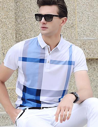 voordelige Herenpolo's-Heren Print Polo Katoen Blokken Overhemdkraag blauw