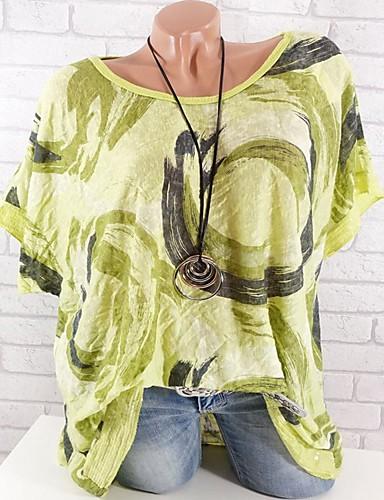 Kadın's Pamuklu Salaş - Tişört Desen, Solid / Çiçekli Büyük Bedenler Fuşya
