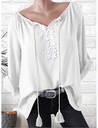 62aef028e baratos Camisetas Femininas-Mulheres Tamanhos Grandes Camiseta Moda de Rua  Cordões   Patchwork