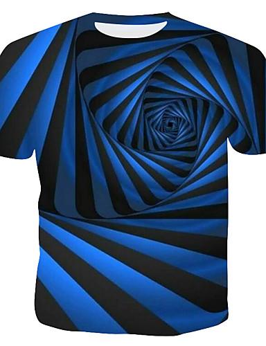 voordelige Herenbovenkleding-Heren T-shirt Gestreept / Geometrisch / 3D blauw