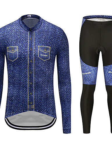 cheap Cycling Clothing-MUBODO Men's Long Sleeve Cycling Jersey with Tights - Blue / Black Bike Clothing Suit Breathable Quick Dry Reflective Strips Sports Mesh Mountain Bike MTB Road Bike Cycling Clothing Apparel