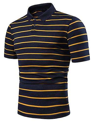 voordelige Herenpolo's-Heren Patchwork EU / VS maat - Polo Kleurenblok Overhemdkraag Wit