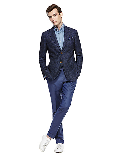 cheap Suits-Custom Suits Deep Blue / Dark Grey / Dark navy Solid Colored Standard Fit Wool Blends Suit - Notch Single Breasted Two-buttons