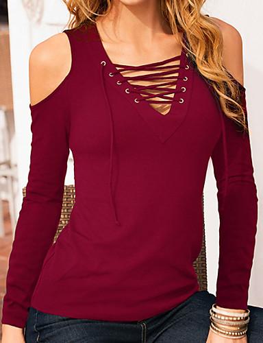 727b4e6a62b28 abordables Camisas y Camisetas para Mujer-Mujer Blusa Delgado Un Color