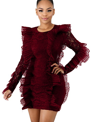 981f5f112394 Women's Basic Bodycon Dress - Solid Colored Ruffle White Black Wine L XL XXL