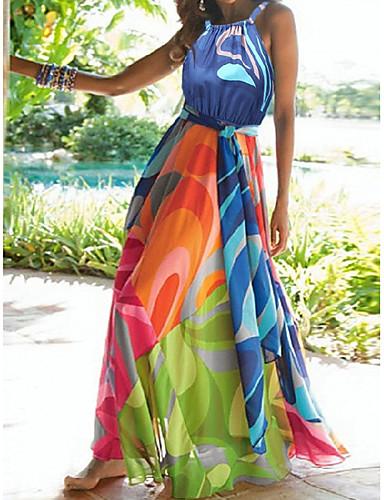 voordelige Maxi-jurken-Dames Strand Sexy Boho Tuniek Wijd uitlopend Abaya Jurk Bloemen Chiffon Halter Maxi