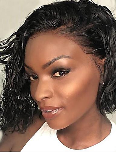 povoljno Perike s ljudskom kosom-Ljudska kosa Lace Front Perika Bob frizura Kratak Bob Stražnji dio stil Brazilska kosa Wavy Crna Perika 130% Gustoća kose s dječjom kosom Prirodna linija za kosu Za crnkinje 100% Djevica 100% rađeno