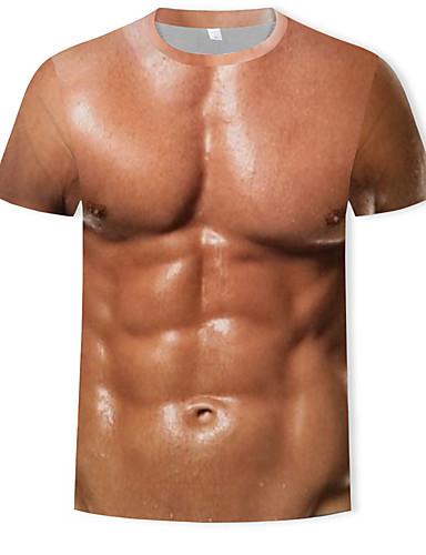 Majica s rukavima Muškarci Ležerno / za svaki dan 3D Okrugli izrez Print Braon XL / Kratkih rukava