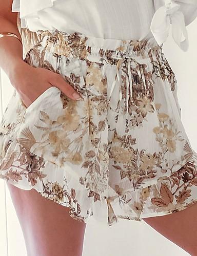 2019 Ultimo Disegno Per Donna Essenziale Pantaloncini Pantaloni - Fantasia Floreale Bianco #07304083 Merci Di Alta Qualità