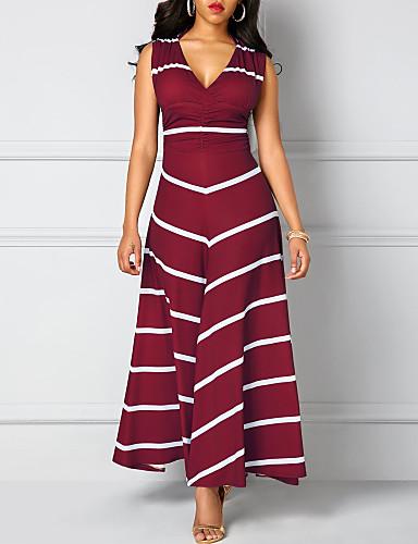f70dd353400f Γυναικεία Βασικό Θήκη Φόρεμα - Ριγέ Μακρύ