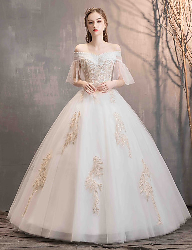 fc560c0016 Ball Gown Off Shoulder Floor Length Lace   Tulle Made-To-Measure Wedding  Dresses with Beading   Appliques by LAN TING Express 7255916 2019 –  119.99