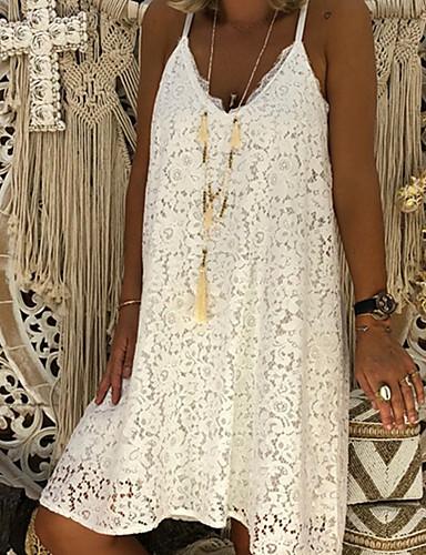 povoljno Nježna čipka-Žene A kroj Haljina S naramenicama Do koljena