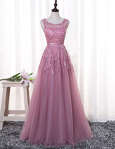 e0770bc90223 cheap Bridesmaid Dresses-A-Line Jewel Neck Floor Length Tulle Bridesmaid  Dress with Appliques
