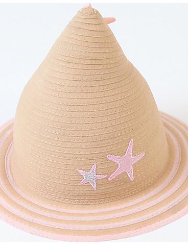 Unisex Essenziale Cappello Di Paglia-paglia Con Stampe Rosa Beige #07299923