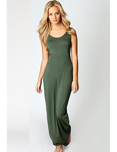 voordelige Maxi-jurken-Dames Standaard A-lijn Jurk - Effen Maxi