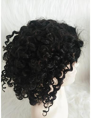 abordables Perruques Naturelles Dentelle-Perruque Cheveux Naturel humain Lace Frontale Cheveux Brésiliens Kinky Curly Noir Partie médiane Femme Densité 130% Homme Court Noir Autres
