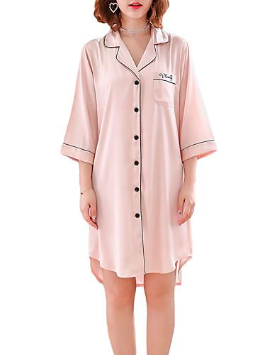 Cosciente Per Donna Colletto Camicie Da Notte E Vestitini Pigiami Tinta Unita - Alfabetico #07252487 Colore Veloce