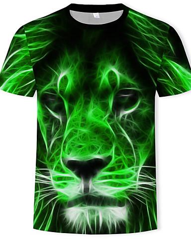 cheap Men's Tees & Tank Tops-Men's Plus Size Cotton T-shirt - 3D / Animal Print Round Neck Green XXXL