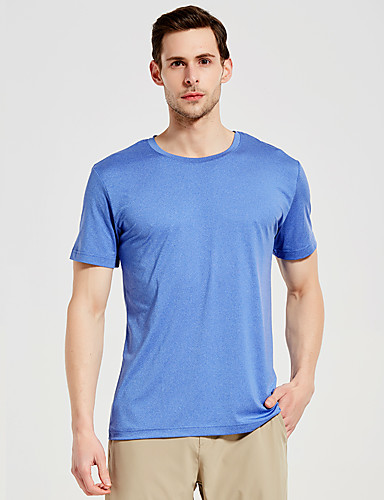 cheap Outdoor Clothing-SUMMITGLORY® Men's Solid Color Hiking Tee shirt Short Sleeve Outdoor Breathable Quick Dry Tee / T-shirt Top Summer POLY Elastane Crew Neck Sky Blue Camping / Hiking Fitness Jogging