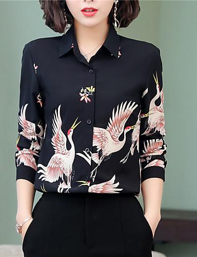 povoljno Majica-Majica Žene Životinja Kragna košulje Slim, Print Plava
