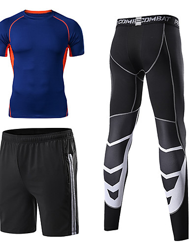 cheap Cycling Clothing-Men's 3pcs Compression Suit Short Sleeve Compression Shorts Base layer Pants Thermal / Warm Breathable Quick Dry Comfortable Green Grey Blue+Orange Winter Road Bike Mountain Bike MTB Basketball