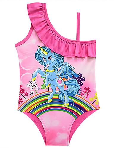 בגדי ים ללא שרוולים דפוס Unicorn פעיל / סגנון חמוד בנות ילדים / פעוטות