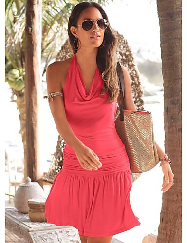 abordables Robes Femme-Femme Au dessus du genou Trapèze Robe Rouge Fuchsia L XL XXL Sans Manches