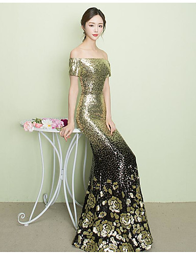 cheap Special Occasion Dresses-Mermaid / Trumpet Off Shoulder Sweep / Brush Train Sequined Dress with Sequin by LAN TING Express