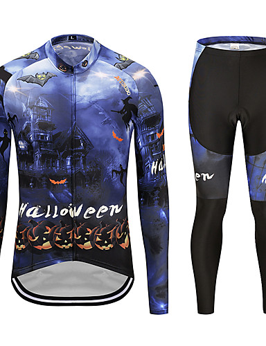 cheap Cycling Clothing-MUBODO Men's Long Sleeve Cycling Jersey with Tights - Black / Blue Bike Clothing Suit Breathable Quick Dry Reflective Strips Sports Mesh Mountain Bike MTB Road Bike Cycling Clothing Apparel
