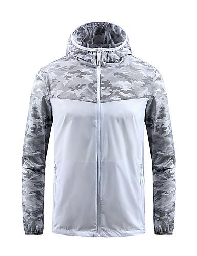 cheap Outdoor Clothing-Men's Camo Hiking Shirt / Button Down Shirts Long Sleeve Outdoor Waterproof Windproof Breathable Ultra Light (UL) Shirt Top Spring Summer Chinlon Blue Grey Camping / Hiking / Caving Traveling
