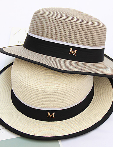 9a3a4a7118cb9e Men's Party Basic Straw Straw Hat-Solid Colored All Seasons Beige Gray Khaki