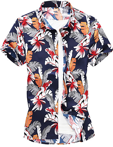 abordables Camisas de Hombre-Hombre Tallas Grandes Camisa Delgado Geométrico Azul Piscina XXXXL