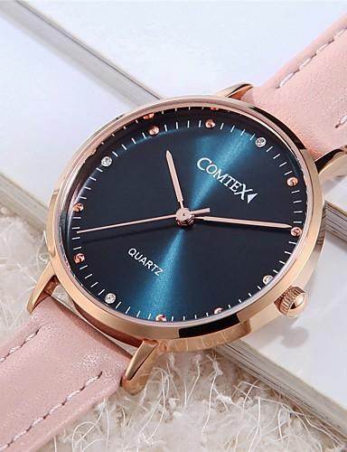 af5890e8b COMTEX Women's Quartz Watches Fashion Pink Genuine Leather Quartz Blue  Water Resistant / Waterproof 1 pc