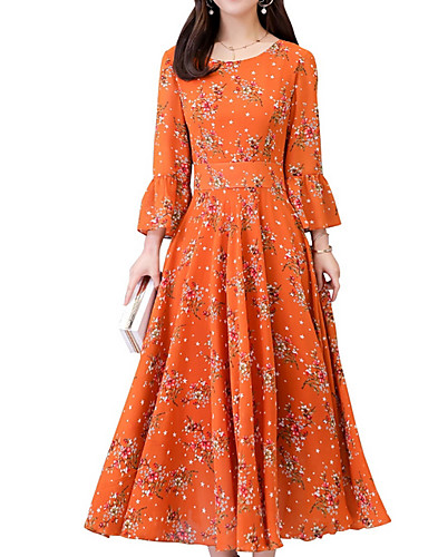 voordelige Maxi-jurken-Dames Wijd uitlopend Jurk - Bloemen, Print Maxi