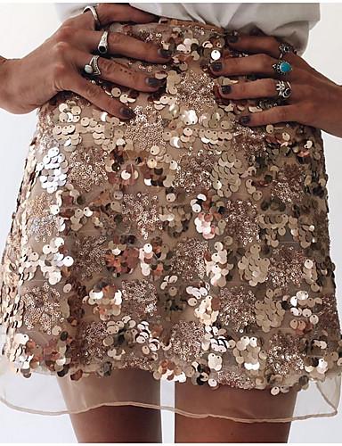 abordables Faldas para Mujer-Mujer Chic de Calle Mini Línea A Faldas - Lentejuelas, Un Color Dorado Plata M L XL