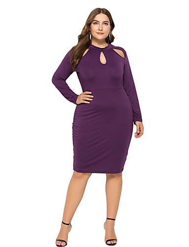 hesapli Büyük Beden Elbiseleri-Kadın's Sokak Şıklığı Kılıf Elbise - Solid, Kırk Yama Diz-boyu