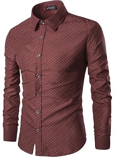 2019 Moda Camicia Per Uomo A Pois Blu Marino L #07255008 Scelta Materiali