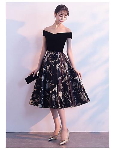 fc886b20d7 cheap Bridesmaid Dresses-A-Line Off Shoulder Tea Length Lace Bridesmaid  Dress with Lace
