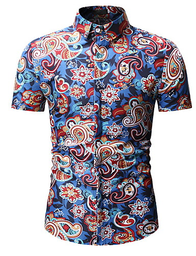 voordelige Uitverkoop-Heren Overhemd Paisley / Tribal blauw / Korte mouw